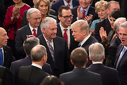 United States President Donald J. Trump is greeted by US Secretary of State Rex W. Tillerson and other members of his Cabinet before addressing a joint session of Congress on Capitol Hill in Washington, DC, USA, February 28, 2017. Photo by Chris Kleponis/CNP/ABACAPRESS.COM