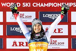 February 8, 2019 - Re, SWEDEN - 190208 Wendy Holdener of Switzerland celebrates on the podium after the women's alpine combination during the FIS Alpine World Ski Championships on February 8, 2019 in re..Photo: Joel Marklund / BILDBYRN / kod JM / 87851 (Credit Image: © Joel Marklund/Bildbyran via ZUMA Press)