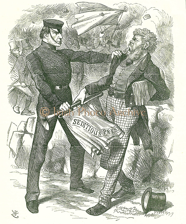 Silencing the Trumpet. (after Aesop)':  Prime Minister Gladstone silencing the Irish press for inciting Fenian violence.  John Tenniel cartoon from 'Punch', London, 9 April  1870.