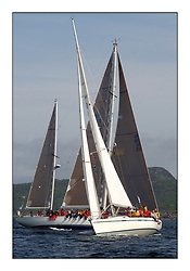 Yachting- The first days inshore racing  of the Bell Lawrie Scottish series 2002 at Tarbert Loch Fyne. Near perfect conditions saw over two hundred yachts compete. <br /><br />First By Farr (first 45f5, GBR9963) crosses Desperado (Swan 65, GBR1665)<br />class 1<br />Pics Marc Turner / PFM