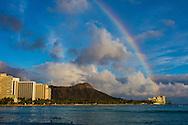 Rainbow over Waikiki Beach, Honolulu, Oahu, Hawaii