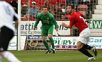 Photo: Paul Thomas. <br /> Dunfermline v Manchester United. Pre season Friendly.<br /> 08/08/2007. <br /> <br /> Tomasz Kuszcak (C) of Utd keeps watch from goal.
