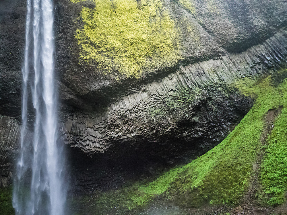 In the spring there are over a hundred waterfalls in the Columbia River Gorge and each is unique in some way. In this instance I was struck by the composition created by the three streams of water and the angular lines in the rock behind Latourell Falls. It's hard to get a sense of scale in this image, but it's about 200 feet from top to bottom.