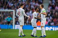 John Stones (England), Raheem Sterling (England) & Harry Kane (Capt) (England) just before the start of the UEFA Nations League match between England and Croatia at Wembley Stadium, London, England on 18 November 2018.