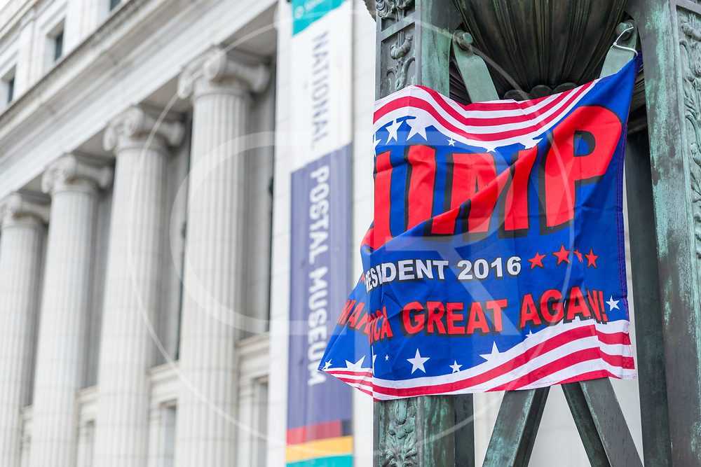 Washington DC, United States - Make America Great Again banners scatter the D.C. landscape on Inauguration Day, 2017