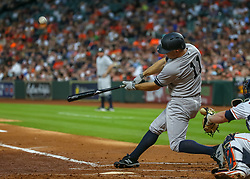 April 30, 2018 - Houston, TX, U.S. - HOUSTON, TX - APRIL 30:  New York Yankees left fielder Brett Gardner (11) strikes out in the top of the sixth inning during the baseball game between the New York Yankees and Houston Astros on April 30, 2018 at Minute Maid Park in Houston, Texas.  (Photo by Leslie Plaza Johnson/Icon Sportswire) (Credit Image: © Leslie Plaza Johnson/Icon SMI via ZUMA Press)