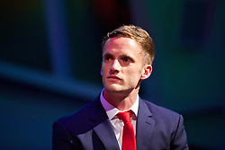 CARDIFF, WALES - Wednesday, June 1, 2016: Wales' Andy King during a Q&A at a charity send-off gala dinner at the Vale Resort Hotel ahead of the UEFA Euro 2016. (Pic by David Rawcliffe/Propaganda)