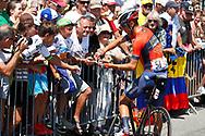 Vincenzo Nibali (ITA - Bahrain - Merida) Fans, autograph, during the Tour de France 2018, Stage 4, Team Time Trial, La Baule - Sarzeau (195 km) on July 10th, 2018 - Photo Luca Bettini / BettiniPhoto / ProSportsImages / DPPI