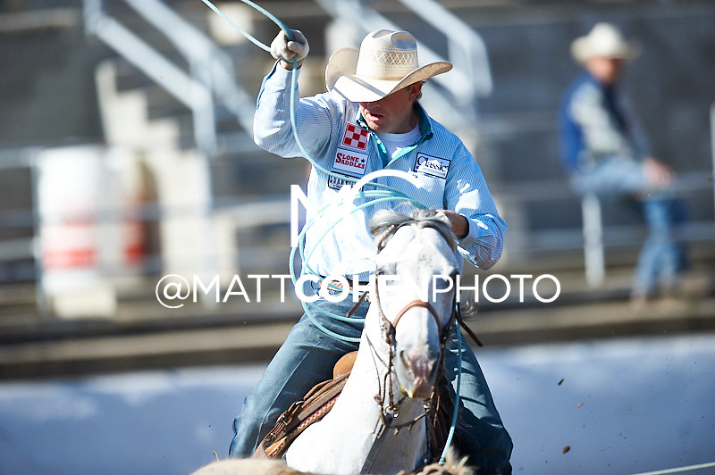 Team roper Cole Davison of Stephenvville, TX competes at the Clovis Rodeo in Clovis, CA.<br /> <br /> <br /> UNEDITED LOW-RES PREVIEW<br /> <br /> <br /> File shown may be an unedited low resolution version used as a proof only. All prints are 100% guaranteed for quality. Sizes 8x10+ come with a version for personal social media. I am currently not selling downloads for commercial/brand use.