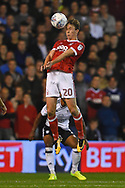 Nottingham Forest midfielder, on loan from Everton, Kieran Dowell (20) heads the ball during the EFL Sky Bet Championship match between Nottingham Forest and Fulham at the City Ground, Nottingham, England on 26 September 2017. Photo by Jon Hobley.