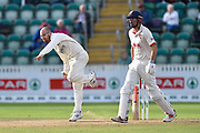 Jack Leach of Somerset bowling with Alastair Cook of Essex watching on during the Specsavers County Champ Div 1 match between Somerset County Cricket Club and Essex County Cricket Club at the Cooper Associates County Ground, Taunton, United Kingdom on 26 September 2019.