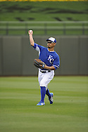 SURPRISE, AZ - MARCH 06:  Norichika Aoki #23 of the Kansas City Royals warms up prior to the game against the Chicago White Sox on March 6, 2014 at The Ballpark in Surprise in Surprise, Arizona. (Photo by Ron Vesely)   Subject: Norichika Aoki