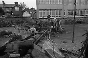 """Flooding at the Dodder..1986..26.08.1986..08.26.1986..28th August 1986..As a result of Hurricane Charly (Charlie) heavy overnight rainfall was the cause of severe flooding in the Donnybrook/Ballsbridge areas of Dublin. In a period of just 12 hours it was stated that 8 inches of rain had fallen. The Dodder,long regarded as a """"Flashy"""" river, burst its banks and caused great hardship to families in the 300 or so homes which were flooded. Council workers and the Fire Brigades did their best to try and alleviate some of the problems by removing debris and pumping out some of the homes affected..Note: """"Flashy"""" is a term given to a river which is prone to flooding as a result of heavy or sustained rainfall."""