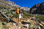 Hiker on the Lake Oesa Trail, Yoho National Park, British Columbia, Canada