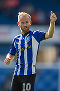 Barry Bannan (Sheffield) thanking the Sheffield Wednesday FC supporters (the Owls) following the EFL Sky Bet Championship match between Sheffield Wednesday and Ipswich Town at Hillsborough, Sheffield, England on 25 August 2018.