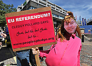 © under license to London News Pictures. LONDON, UK  03/05/2011. A man dressed as TV character 'Vicky Pollard' holds a banner outside the rally. William Hague, Lord Owen, Theresa May, Paul Boateng, John Healey and James Cracknell at a rally urging support for a NO vote held at The Methodist Hall in Central London this morning (03 May 2011). The Rally was to urge people to vote in favour of a NO vote at the forth coming AV Referendum. Photo credit should read Stephen Simpson/LNP.
