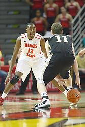08 December 2012:  John Wilkins protects the lane from Nate Hutchinson during an NCAA mens basketball game between the Western Michigan Broncos and the Illinois State Redbirds (Missouri Valley Conference) in Redbird Arena, Normal IL