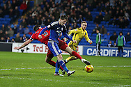 Joe Mason of Cardiff city (c) scores his teams 1st goal. Skybet football league championship match, Cardiff city v Blackburn Rovers at the Cardiff city stadium in Cardiff, South Wales on Saturday 2nd Jan 2016.<br /> pic by Andrew Orchard, Andrew Orchard sports photography.