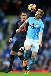5th November 2017 - Premier League - Manchester City v Arsenal - Kevin De Bruyne of Man City battles with Granit Xhaka of Arsenal - Photo: Simon Stacpoole / Offside.