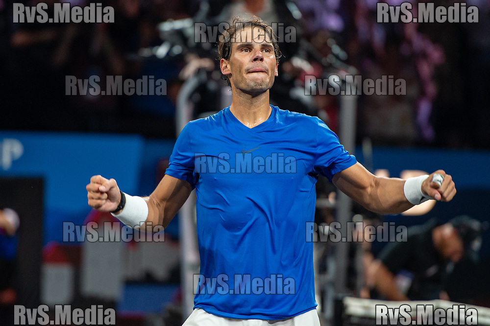 GENEVA, SWITZERLAND - SEPTEMBER 21: Rafael Nadal of Team Europe celebrates his win during Day 2 of the Laver Cup 2019 at Palexpo on September 21, 2019 in Geneva, Switzerland. The Laver Cup will see six players from the rest of the World competing against their counterparts from Europe. Team World is captained by John McEnroe and Team Europe is captained by Bjorn Borg. The tournament runs from September 20-22. (Photo by Monika Majer/RvS.Media)
