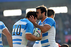 Nicolas Sanchez of Argentina is congratulated on his try by team-mate Martin Landajo - Mandatory byline: Patrick Khachfe/JMP - 07966 386802 - 04/10/2015 - RUGBY UNION - Leicester City Stadium - Leicester, England - Argentina v Tonga - Rugby World Cup 2015 Pool C.