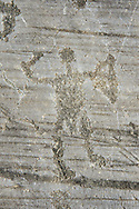 Petroglyph, rock carving, of a warrior with a sword and a round shield. Carved by the ancient Camuni people in the iron age between 1000-1600 BC. Rock no 24,  Foppi di Nadro, Riserva Naturale Incisioni Rupestri di Ceto, Cimbergo e Paspardo, Capo di Ponti, Valcamonica (Val Camonica), Lombardy plain, Italy .<br /> <br /> Visit our PREHISTORY PHOTO COLLECTIONS for more   photos  to download or buy as prints https://funkystock.photoshelter.com/gallery-collection/Prehistoric-Neolithic-Sites-Art-Artefacts-Pictures-Photos/C0000tfxw63zrUT4<br /> If you prefer to buy from our ALAMY PHOTO LIBRARY  Collection visit : https://www.alamy.com/portfolio/paul-williams-funkystock/valcamonica-rock-art.html