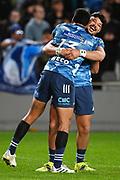 Rieko Ioane (L) and AJ Lam celebrate victory.<br /> Blues v Highlanders, Sky Super Rugby Trans-Tasman Final. Eden Park, Auckland. New Zealand. Saturday 19 June 2021. © Copyright Photo: Andrew Cornaga / www.photosport.nz