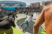 Luiz Francisco of Brazil skates during the men's park finals of the Dew Tour Skateboarding Championships in Long Beach, California, U.S., June 16 2019.   REUTERS/Andrew Cullen