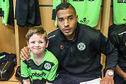 Forest Green Rovers Joseph Mills(23) with match day mascot during the EFL Sky Bet League 2 match between Forest Green Rovers and Milton Keynes Dons at the New Lawn, Forest Green, United Kingdom on 30 March 2019.