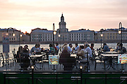 Saint Petersburg, Russia, 23/07/2005..Floating restaurant tied to Palace Quay by the River Neva.
