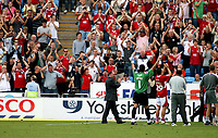 Photo: Mark Stephenson.<br /> Coventry City v Bristol City. Coca Cola Championship. 15/09/2007.The Bristol City manager Gary Johnson and the players celebrate with the fans