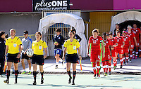 Fifa Womans World Cup Canada 2015 - Preview //<br /> Cyprus Cup 2015 Tournament ( Gsz Stadium Larnaca  - Cyprus ) - <br /> Canada vs South Korea 1-0  //  Christine Sinclair , Captain of Canada enter to the field with Team Mates
