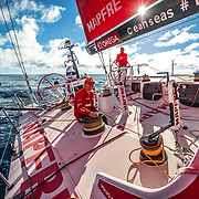 Leg 7 from Auckland to Itajai, day 19 on board MAPFRE, Blair Tuke at the helm, and Tamara Echegoyen at the winch, 05 April, 2018.