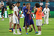 Barcelona Neymar shares a joke with Real Madrid Midfielder Casemiro and Real Madrid Defender Marcelo after the match during the International Champions Cup match between Real Madrid and FC Barcelona at the Hard Rock Stadium, Miami on 29 July 2017.