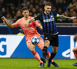 November 7, 2018 - Milan, Italy - Mauro Icardi (R) of Inter Milan and Clement Lenglet of Barcelona vie for the ball during the Group B match of the UEFA Champions League between FC Internazionale and FC Barcelona on November 6, 2018 at San Siro Stadium in Milan, Italy. (Credit Image: © Mike Kireev/NurPhoto via ZUMA Press)