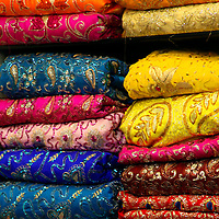 Asia, India, Delhi. Colorful Sari Shop in Old Delhi.