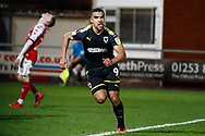 Wimbledon forward Kwesi Appiah (9) scores a goal and celebrates to make the score 2-3 during the The FA Cup 3rd round match between Fleetwood Town and AFC Wimbledon at the Highbury Stadium, Fleetwood, England on 5 January 2019.