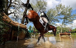 Pippa Funnell on Majas Hope at the Hildon Water Pond on the Cross Country during day four of the 2019 Mitsubishi Motors Badminton Horse Trials at The Badminton Estate, Gloucestershire.