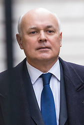 Downing Street, London, February 9th 2016.  Work and Pensions Secretary Iain Duncan-Smith arrives in Downing Street for the weekly cabinet meeting. ///FOR LICENCING CONTACT: paul@pauldaveycreative.co.uk TEL:+44 (0) 7966 016 296 or +44 (0) 20 8969 6875. ©2015 Paul R Davey. All rights reserved.
