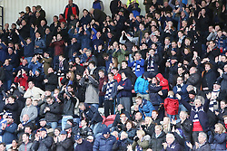 Away fans, after the first Falkirk goal. <br /> Raith Rovers 2 v 2 Falkirk, Scottish Championship game played 23/4/2016 at Stark's Park.