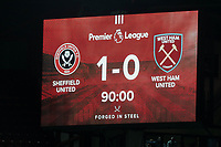 The scoreboard is changed to 1-0 following VAR review for handball <br /> <br /> Photographer Rich Linley/CameraSport<br /> <br /> The Premier League - Sheffield United v West Ham United - Friday 10th January 2020 - Bramall Lane - Sheffield <br /> <br /> World Copyright © 2020 CameraSport. All rights reserved. 43 Linden Ave. Countesthorpe. Leicester. England. LE8 5PG - Tel: +44 (0) 116 277 4147 - admin@camerasport.com - www.camerasport.com