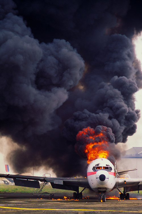 Burning passenger jet, emergency exercise, San Francisco International Airpot, San Bruno, California