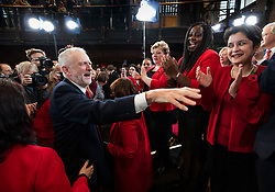© Licensed to London News Pictures. 31/10/2019. London, UK. Labour Party Leader Jeremy Corbyn shares a joke with (L-R) Emily Thornberry, Battersea MP Marsha de Cordova and Baroness Chakrabarti after speaking to supporters at Battersea Arts Centre during an election campaign rally. Photo credit: Peter Macdiarmid/LNP