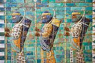 Ancent Assyrian glazed brick panels depicting Royal bodyguards or the Achaemenid King Darius from the Palace of Susa, 521-486 BC, Pergamon Museum, Berlin Ancent Persian glazed brick panels depicting Royal bodyguards or the Achaemenid King Darius from the Palace of Susa, 521-486 BC, Pergamon Museum, Berlin