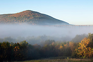 Morning fog in a view of the Moodna Viaduct railroad trestle and Schunnemunk Mountain on Sept. 27. 2019.