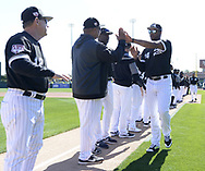 GLENDALE, ARIZONA - FEBRUARY 23:  Eloy Jimenez #74 of the Chicago White Sox his introduced prior to the game against the Los Angeles Dodgers on February 23, 2019 at Camelback Ranch in Glendale Arizona.  (Photo by Ron Vesely)  Subject:  Eloy Jimenez