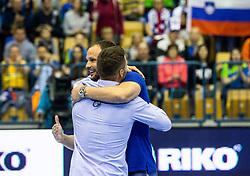 Luka Zvizej and Uros Zorman prior to the handball match between National teams of Slovenia and Netherlands in Qualifications of 2020 Men's EHF EURO, on April 14, 2019, in Arena Zlatorog, Celje, Slovenia. Photo by Vid Ponikvar / Sportida