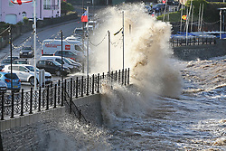 © Licensed to London News Pictures. 26/04/2016. Clevedon, UK. Wind and waves hit the seafront at Clevedon in North Somerset. Strong winds and scattered showers are forecast for parts of the UK today. Photo credit: Dave Peters/LNP