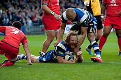 Ross Batty of Bath Rugby celebrates scoring a try - Photo mandatory by-line: Patrick Khachfe/JMP - Mobile: 07966 386802 25/10/2014 - SPORT - RUGBY UNION - Bath - The Recreation Ground - Bath Rugby v Toulouse - European Rugby Champions Cup