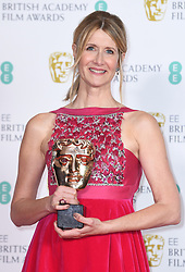 Laura Dern with her award for Best Supporting Actress at the 73rd British Academy Film Awards held at the Royal Albert Hall, London.. Photo credit should read: Doug Peters/EMPICS